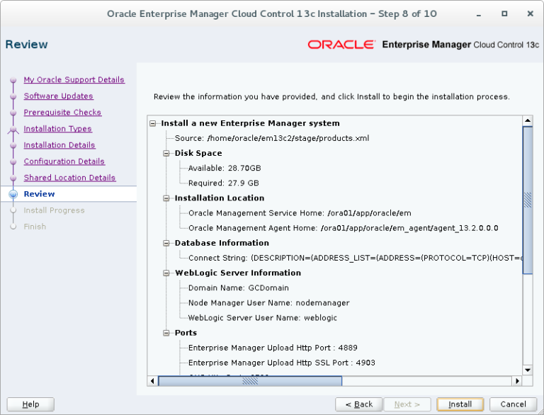 Oracle Enterprise Manager Service name